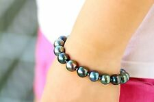 "Natural 7.5""-8""9-10MM GENUINE tahitian peacock round pearl bracelet"