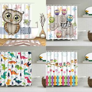 Cartoon Owl Dinosaur Elephant Fabric Shower Curtain Colorful Kids Bathroom Decor