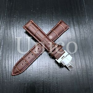 Alligator Leather Strap For Samsung Galaxy Gear 42MM 44MM 46MM Silver Clasp USA
