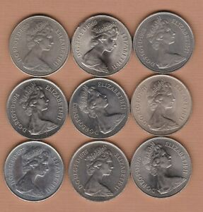 A DATE RUN OF 9 LARGE 10 PENCE COINS 1968 TO 1977 IN NEAR MINT TO MINT CONDITION