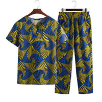 2PCS Mens African Print T Shirt and Pants Set Festival Suit African Party Outfit