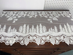 """HERITAGE LACE PINECONE MANTLE SCARF 20"""" X 96"""" WHITE NWT MADE IN THE USA"""