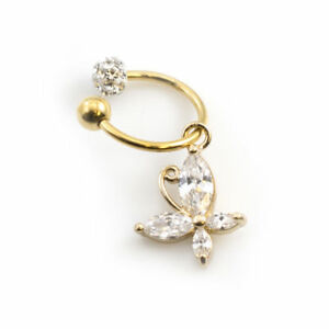 Gold Tragus Piercing Jewelry Butterfly With Clear Ferido Ball 16g 7mm