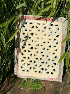 Vintage Indian Sandstone Stone Jali Pierced Screen Mughal Geometric Design 3