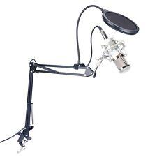 Pro Condenser Microphone with Pop Filter+Adjustable Suspension Scissor Arm Stand