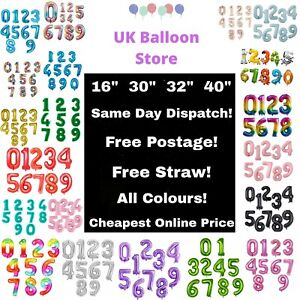 """GIANT 16"""" 30"""" 32"""" 40"""" Birthday Number Balloons Air Helium Foil Party 0123456789"""