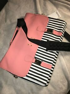 Kamlui Laptop Bag padded 15 inch Pink with black white strips with tags