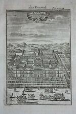 Original antique print EL ESCORIAL PALACE, MADRID, SPAIN, Mallet, c.1719