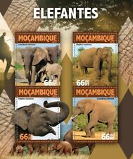 Mozambique 2016 MNH Elephants African Asian Elephant 4v M/S Wild Animals Stamps