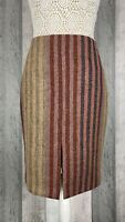Boden Striped Tweed By Moon 100% Wool Slit Pencil Skirt Size 10