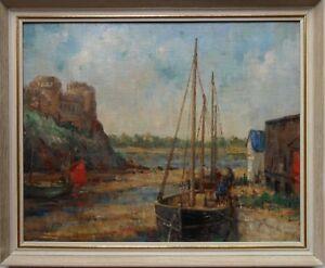 WILLIAM ARTHUR LAURIE CARRICK 1879-1964 ORIGINAL SIGNED OIL 'SCOTTISH HARBOUR'