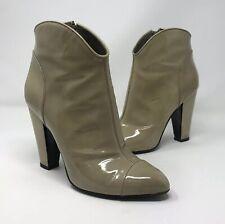 """BURBERRY 100% Genuine Nude Beige Patent 4 1/4"" Boots  Leather, Heels UK 5 EU 38"