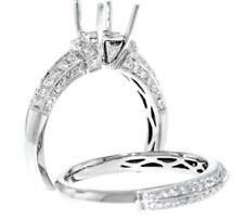 Diamond Bridal Set 0.93ct Engagement Ring Setting Wedding Band 18k Wht Gold