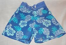 Swim Trunks Bathing Suit Blue Boy's Size 6 Hibiscus Flowers  OshKosh B'gosh
