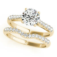 1.40 Ct Diamond Engagement Ring Band Set 14K Solid Yellow Gold Size J K L M N
