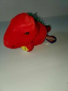 """Puffkins Drake Red Dinosaur 5"""" Plush Beanie Swibco 1994 Style 6631 with Tags"""