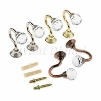 2Pcs Round Wall Mounted Curtain Holder Crystal Glass Tieback Hooks with 4 Screws