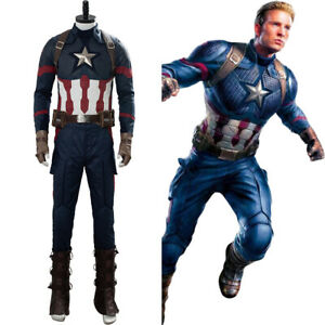 Avengers 4 Endgame Captain America Costume Cosplay Steven Rogers Uniform Suit