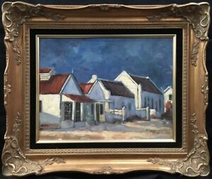 20th Century South African School Oil on Board Landscape Painting. Signed.