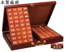 高級木製麻將 Unique ROSE WOOD Mahjong Set ~ 144 Numbered Large Wooden Tiles. US Seller
