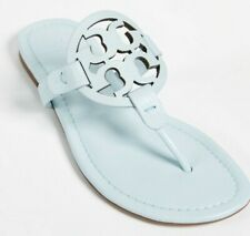 Tory Burch NEW Miller Light Blue Seltzer Pebbled Leather Sandals Sizes 9 11 Auth