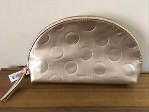 Sephora Moon Shape Metallic Rose Gold Large Makeup Bag / Clutch NEW w/Tags