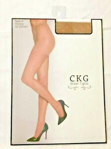 CKG Pantyhose/Stockings/Tights Sheers Honey 30 Denier REINFORCED TOE CONTROL TOP