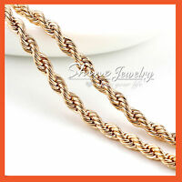 18K YELLOW GOLD GF MENS WOMENS 2MM TWIST ROPE SINGAPORE CHAIN NECKLACE 45CM