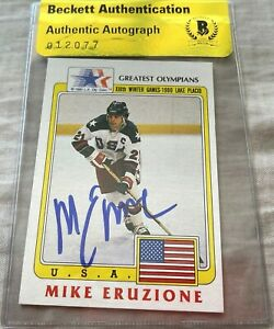 Mike Eruzione autographed signed 1980 US Miracle on Ice Team 1983 Topps card BAS