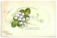 Antique hand painted flower postcard card Happy May Your Birthday Be