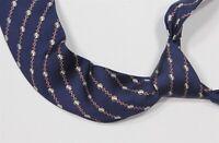 Hermes Paris 7057-TA Vintage Navy Blue Chain Stripes Silk Necktie Tie