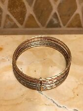 Set of 7 14k tri color gold bangle bracelets yellow rose white round textured