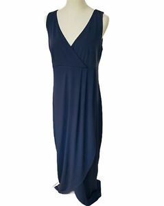 "Moonlight Bird Maxi Dress Sz 14 ""Phillipa""  Dark Grey Wrap Style Stretch Knit"