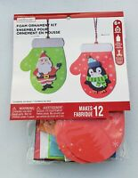 Creatology Santa and Penguin 3D Christmas Foam Ornament Craft Kit, Makes 12