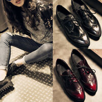 Women's Leather Oxfords Lace Up Brogues Wing Tip Pointed Toe Creepers Shoes Size