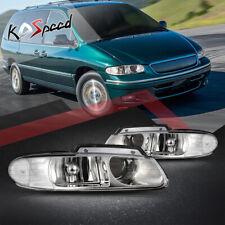 2Pcs Projector Headlight For 96-99 Caravan/Voyager(Qaud Lamp) LH+RH Chrome Clear
