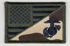 """5 MARINE CORPS LOGO/USA flag (Green) Embroidered Patches 3""""x2"""" iron-on"""
