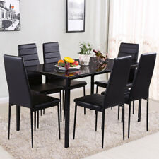 7Piece Dining Table and 6 Chairs High Back Kitchen Furniture Set Glass Top Black