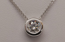 1ct MOISSANITE ROUND  PENDANT NECKLACE BEZEL SET WITH CHAIN  14K WHITE GOLD