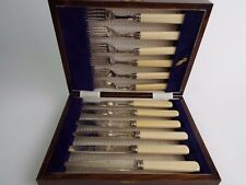 Cutlery Set of Twelve Tea Pastry Fruit Knives & Forks Silver Plate Boxed c1890
