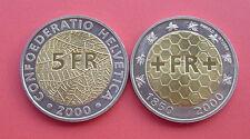 Switzerland 2000 150 years of Swiss national coinage 5 Francs Bimetallic Coin