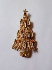 Signed ART Gold Tone Christmas Tree Candle Lights Rhinestone Enamel Brooch Pin