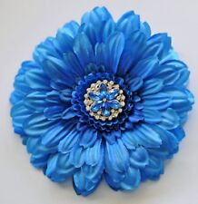 "5"" Ocean Blue Gerbera Daisy Silk Flower Hair Clip Pinup Pin"