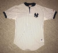 100% Cotton Vintage New York Yankees Pinstripe Nutmeg Baseball Home Jersey Large