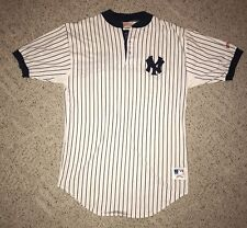 100% Cotton Vintage New York Yankees Pinstripe Nutmeg Baseball Jersey Large