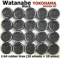 1:64 rubber tires Watanabe black rim fit Hot Wheels Honda diecast - 5 sets