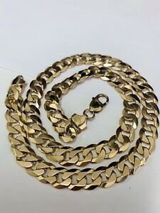 FINE 9CT YELLOW GOLD SOLID CURB LINKED CHAIN NECKLET - 20 INCHES OVER 2 OUNCES