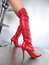 GIOHEL ITALY OVERKNEE HIGH HEELS BOOTS STIEFEL STIVALI REAL LEATHER RED ROSSO 39