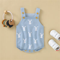 NEW Baby Boys Easter Bunny Rabbit Blue Sweater Romper Jumpsuit