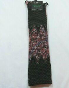 K Bell Womens 72% Merino Wool Blend Paisley Knee High Black Socks Size 9-11